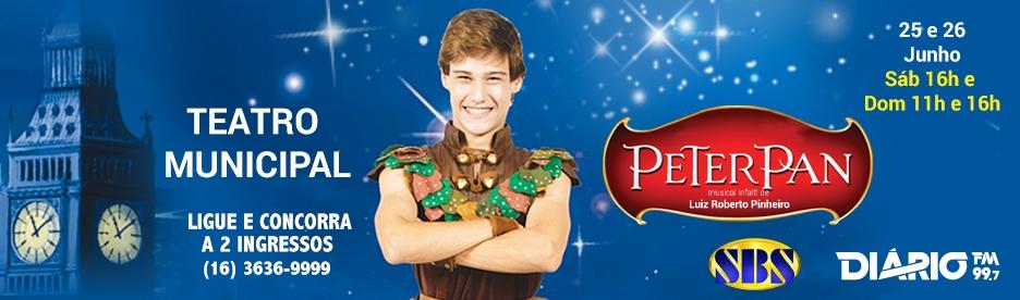 Peter Pan, o menino da Terra do Nunca, chega com sua turma no Teatro Municipal de Ribeirão Preto...